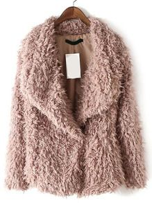 Pink Shawl Collar Faux Fur Coat