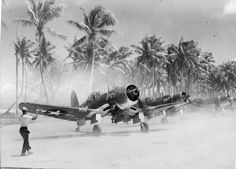 United States Marine Corps Corsair fighter-bombers on Tarawa Atoll in the central Pacific. Such was the demand for this plane that Vought, the original manufacturer, was soon being supplemented by. Aircraft Photos, Ww2 Aircraft, Fighter Aircraft, Military Aircraft, Military Weapons, F4u Corsair, Fighter Pilot, Fighter Jets, Nose Art