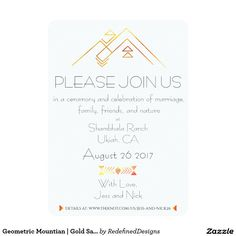 Geometric Mountian | Gold Save The Date Photo Card