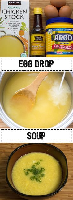 Egg Drop Soup that's quicker and easier than ordering takeout! Great Recipes, Soup Recipes, Cooking Recipes, Favorite Recipes, Healthy Recipes, Recipies, Yummy Recipes, Healthy Soups, Popular Recipes