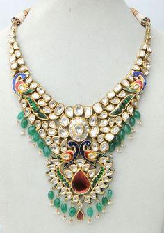 Vintage Antique 20K Gold Diamond Polki Kundan Enamel MEENAKARI Work Necklace Ind | eBay