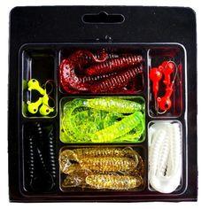 Soft Red Earthworm 30Pcs Fishing Bait Worm Lures Crankbaits Hooks Baits Tackle Q