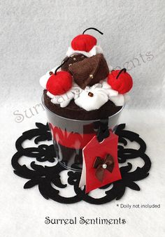 Black Forrest Cherry Ice Cream Felt Cup with mini Hand-painted Card: Perfect Mother's Day Gift, Gift Box Included