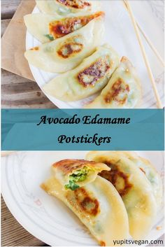 """I'm intrigued by these """"Avocado Edamame Potstickers."""" I love avocados and edamame. I'd need to find a vegan version of wonton wrappers though. It shouldn't be too difficult to do. (Regular wontons are made with eggs.)"""