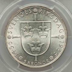 Description: Beautiful lustrous PCGS graded crown size silver coin from Sweden. This is a five Kroner coin commemorating the 500th anniversary of Rikstag. The c