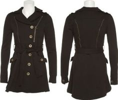 SAY WHAT U.S.A. Stretch Belted Zipper Trim Jacket [41161], Black $15.00