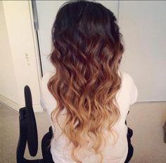 i love brown and blonde dip dye.