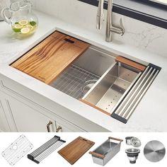 New Kitchen, Kitchen Decor, Best Kitchen Sinks, Square Kitchen Sink, Kitchen Sink Sizes, Home Depot Kitchen, Smart Kitchen, Stylish Kitchen, Wood Cutting