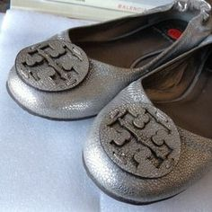 Tory Burch Shoes - Tory Burch Silver Reva Flats Excellent Condition!!