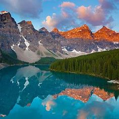 Glorious Reflective Mountains Wall Mural, made to suit your wall size by the UK's for murals. Custom design service and express delivery available. Calgary To Lake Louise, Mountain Wallpaper, Columbia River Gorge, Seen, Banff National Park, Salt Lake City, Trip Planning, Honeymoon Planning, Mount Rainier