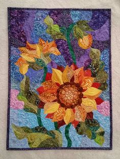 Old Quilts, Small Quilts, Mini Quilts, Sunflower Quilts, Sunflower Art, Stained Glass Quilt, Hanging Flower Wall, Landscape Quilts, Sewing Art