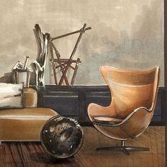 #sketch Легендарное кресло #egg от Арне Якобсена заняло в интерьере своё почетное место. Умение создавать ✍Sketch в наше время это новые возможности и новые перспективы успешной работы на качественно новом уровне!!!