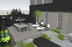 LUN UTEPLASS VED SJØEN - Therese Knutsen Low Maintenance Yard, Low Maintenance Landscaping, Cozy Backyard, Backyard Landscaping, Landscape Design, Garden Design, Black House Exterior, Garden Screening, Dere