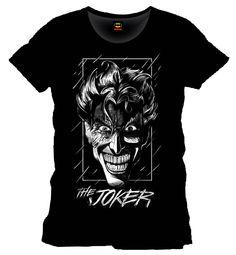 Camiseta rostro Joker lluvia. Batman Estupenda y bonita camiseta con la imagen del rostro del malvado Joker bajo la lluvia, uno de los protagonistas de la exitosa película Batman 100% oficial y licenciada.