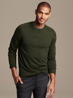 Green sweater for Dad can be worn with or without collared shirt with dark jeans or slacks and black loafers