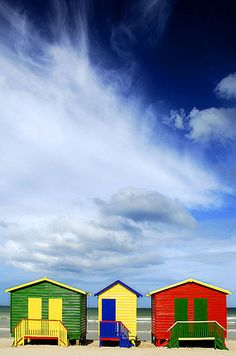 Muizenburg huts, Cape Town, S. Africa-I think I have a picture with the red one. Beautiful Places In The World, Most Beautiful Cities, Beautiful Sky, Historical Sites, Cape Town, Places To See, South Africa, Scenery, Around The Worlds