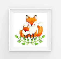 Fox, mother and baby, nursery printable watercolor ilustration, woodland animals Penguin Illustration, Watercolor Illustration, Watercolor Paintings, Watercolors, Mother And Baby Animals, Mother And Child, Baby Toms, Cat Drinking, Wall Art Quotes