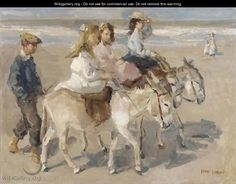 Ezeltje rijden a donkey-ride on the beach - Isaac Israels