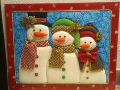 cuadro nieves patchwork sin aguja Christmas Rock, Christmas Fabric, Christmas Snowman, All Things Christmas, Xmas, Christmas Ornaments, Fabric Crafts, Diy Crafts, Mod Podge On Wood