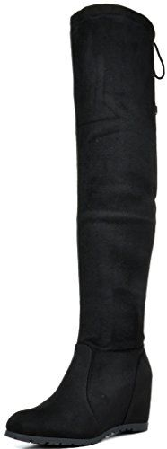 """DREAM PAIRS LEGGY Women's Stretchy Faux Suede Fashion Multi-Wear Over The Knee Low Hidden Wedge Heel Thigh High Boots BLACK SIZE 8.5. Functional self-tie detail at back for a flexible fit, could be wear as slouchy look or over the knee look. Heel height: 2.75"""" (approx), Platform Measures: 0.25""""(approx). Shaft Height: 22 Inches(approx). Circumference: 15 Inches(approx). Shaped with stretchy faux suede material that tie for ease of fit, would definitely make your legs look skinny."""