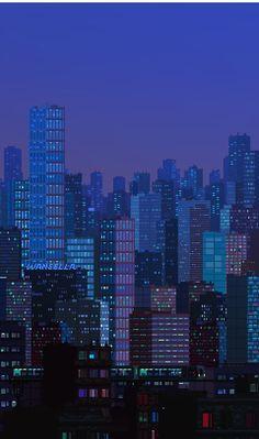 Photographic Print by waneella Cool Minecraft Houses, Minecraft Pixel Art, Minecraft Buildings, Minecraft Crafts, Minecraft Skins, Pixel Art Background, City Background, Pixel City, Building Illustration