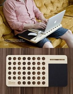 tabla-ipod-computadora Laser Cutter Projects, Diy Wood Projects, Wood Crafts, Woodworking Projects, Diy And Crafts, Laptop Desk, Laptop Stand, Creation Deco, Ideias Diy