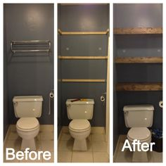 DIY wooden bathroom shelving – transform your space and increase storage! / Rayonnage DIY en bois po… DIY wooden bathroom shelving - transform your space and increase storage! Wooden Bathroom Shelves, Wood Shelves, Bathroom Shelves Over Toilet, Small Bathroom Storage, Open Shelves, Pallet Wall Bathroom, Easy Shelves, Bathroom Toilet Paper Holders, Compact Bathroom