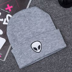 Hot Sale Embroidery Alien Hat Winter Men And Women Cuff Hats Soft Solid Beanies Hip Hop Unisex Warm Knitted Caps Gorros De Lana Men's Beanies, Beanie Hats, Alien Hat, Hat Embroidery, Embroidery Fashion, Girl Beanie, Hat For Man, Cute Hats, Mens Caps