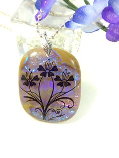 Fused Glass Pendant Necklace  Dichroic  by Mtbaldyglassworks, $23.00