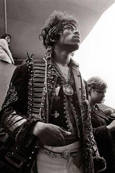 Jimi Hendrix backstage at the Monterey Pop Festival 1967.