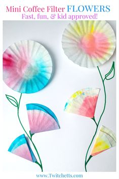 These mini coffee filter flowers are perfect spring crafts for kids. Create water color flowers for a card for Mother's Day or a special Birthday Card.