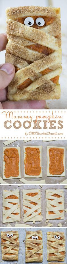 The BEST Halloween Party Recipes {Spooktacular Desserts, Drinks, Treats, Appetizers and More!} Halloween Party Treats Appetizers and Desserts Recipes - Mummy Pumpkin Cookies Recipe via OMG Chocolate Desserts Pumpkin Cookie Recipe, Pumpkin Cookies, Pumpkin Recipes, Fall Recipes, Yummy Recipes, Holiday Recipes, Cookie Recipes, Yummy Food, Party Recipes