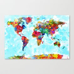 World Map of Splattered Paint Stretched Canvas by Gary Grayson - $85.00
