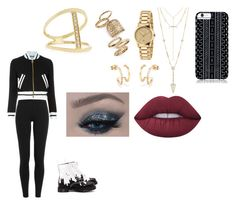"""""""Black and yellow"""" by hardcoregamergirl on Polyvore featuring Polo Ralph Lauren, Moschino, Dr. Martens, Savannah Hayes, House of Harlow 1960, Gucci, Topshop, Sydney Evan and Lime Crime"""