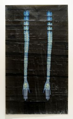 Touch, 2011, pigment, color pencil, wax on paper. Valerie Hammond
