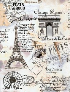 retro Paris Eiffel Tower fabric by Timeless Treasures pastel - Retro Fabric - Fabric - kawaii shop