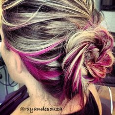 68 new ideas for hair color bright streaks peekaboo highlights Ombre Blond, Bright Hair Colors, Bright Pink, Pink Color, Hair Color And Cut, Crazy Hair, Looks Cool, Hair Highlights, Hair Day