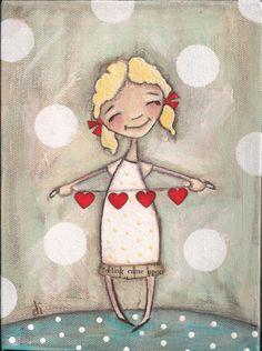 Print of my original folk art painting Heartstrings by DUDADAZE