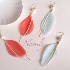 (NEW) Cotton pearl  × feather earring コットンパールフェザー