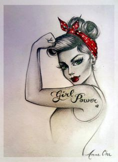 "I'm getting this, but without the ""girl power"" tattoo that the drawing has. I'm keeping the little heart though I think that's cute. She is going on my right tricep, just above my elbow. Parallel to the Alice Tattoo."