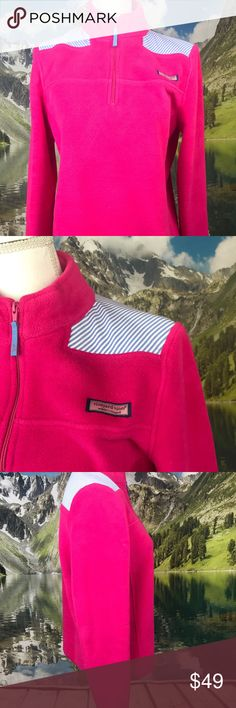 """Relaxed Seersucker Shoulder Shep Shirt Pink $98 Excellent condition, like new.  · 100% cotton  · Classic-fit with blue and white seersucker detailing on the shoulders    Measurements are below:   Waist to hem: 25""""   Pit to Pit: 21.5""""   Shoulder to end of sleeve: 25""""  Please message me if you need additional answers. I try my best to please my customers and please follow my store Miss Amber's Closet on ebay, Poshmark and on Facebook. Thanks!   I have super fast turnaround times and 30 day…"""