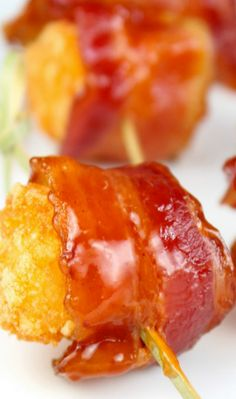 Barbecue Bacon Wrapped Tater Tots