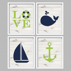 Nautical Nursery Art Navy & Lime Green Digital by PerfectlyMatched