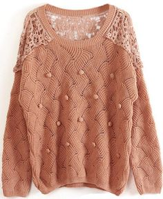 Khaki Long Sleeve Contrast Lace Hollow Sweater US$31.80