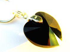 Stunning jet black Swarovski Heart Crystal Charm
