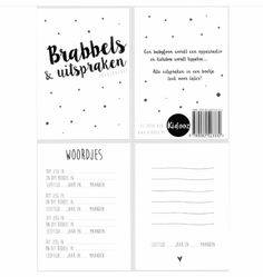 Brabbels en uitspraken boekje v kidooz. Te bestellen bij Little Sissy Baby Books, Bujo, Party Time, Bullet Journal, Album, Kids, Young Children, Boys, Children