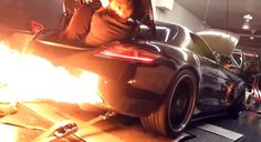 Watch this twin-turbo Mercedes-Benz SLS AMG shoot massive flames on the dyno.