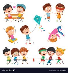 Of children playing Royalty Free Vector Image - VectorStock Daily Routine Activities, Activities For Kids, Childhood Education, Kids Education, Character Drawing, Character Design, Kindergarten Portfolio, Activity Room, Kids Background