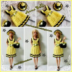 Handmade by Anel Lombard - kilo yio Crochet Doll Dress, Crochet Barbie Clothes, Doll Clothes Barbie, Barbie Dress, Knitted Dolls, Barbie Doll, Barbie Knitting Patterns, Barbie Patterns, Doll Clothes Patterns