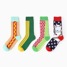 Hot Winter Retro Fashionista Full Personality Creative Art Lovers Watermelon fruit Cute Corn Italy Pattern Elite Casual Socks